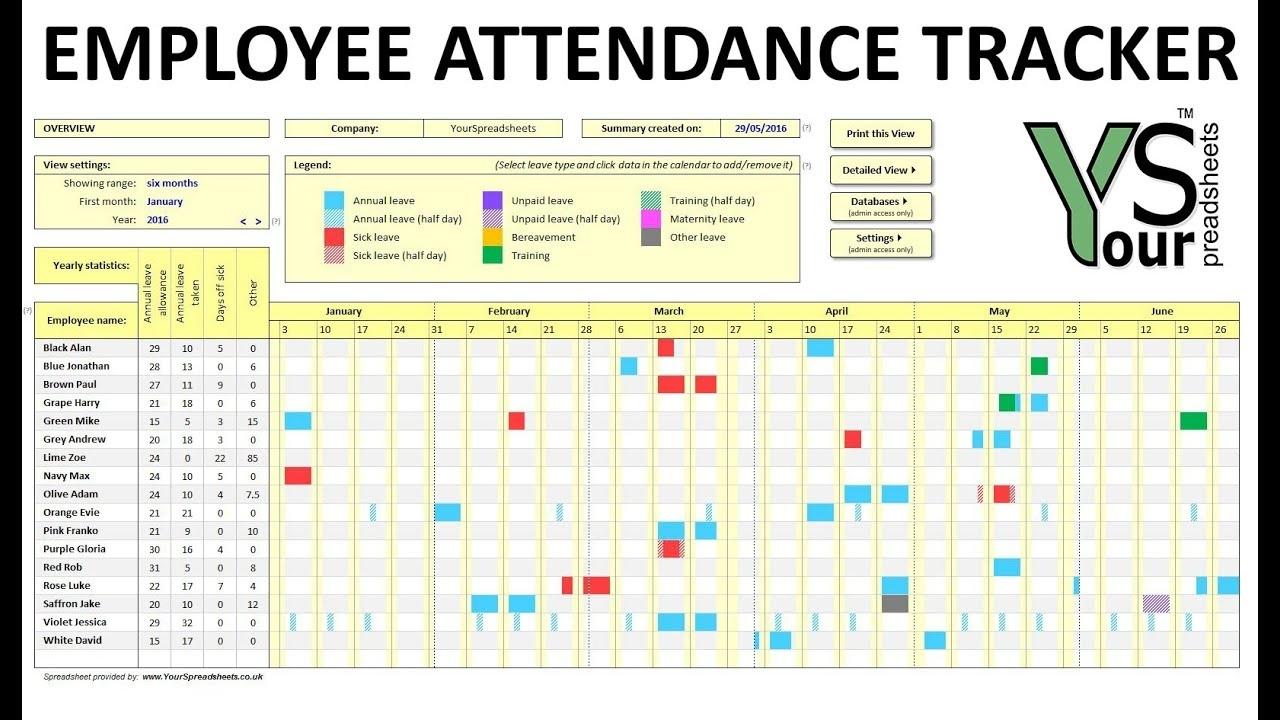 Employee Attendance Tracker Spreadsheet - Youtube  Employee Annual Education Training Tracking Spreadsheet