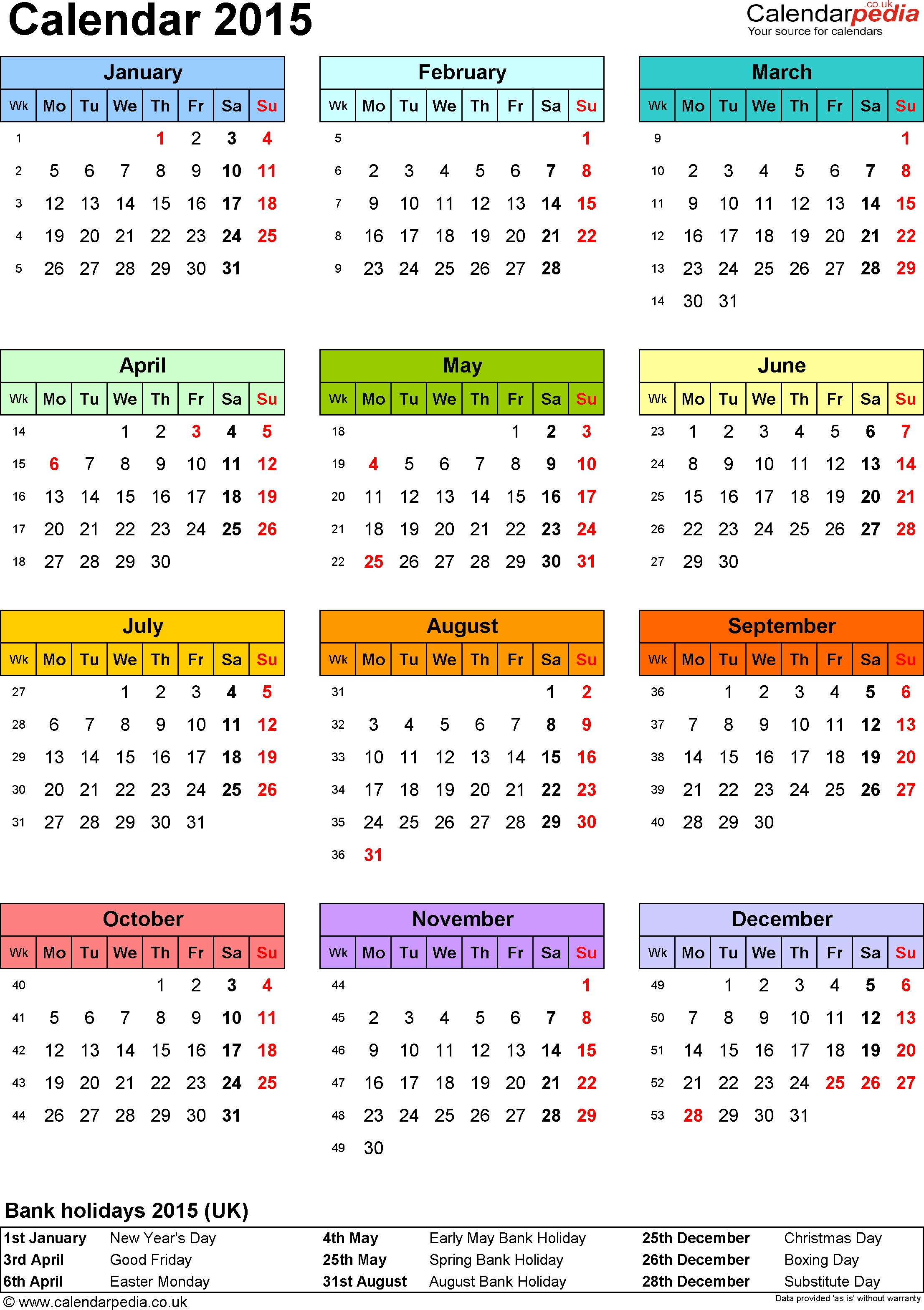 Excel Calendar 2015 (Uk): 16 Printable Templates (Xlsx, Free)  2014 Calendar Printable Yearly Calendars