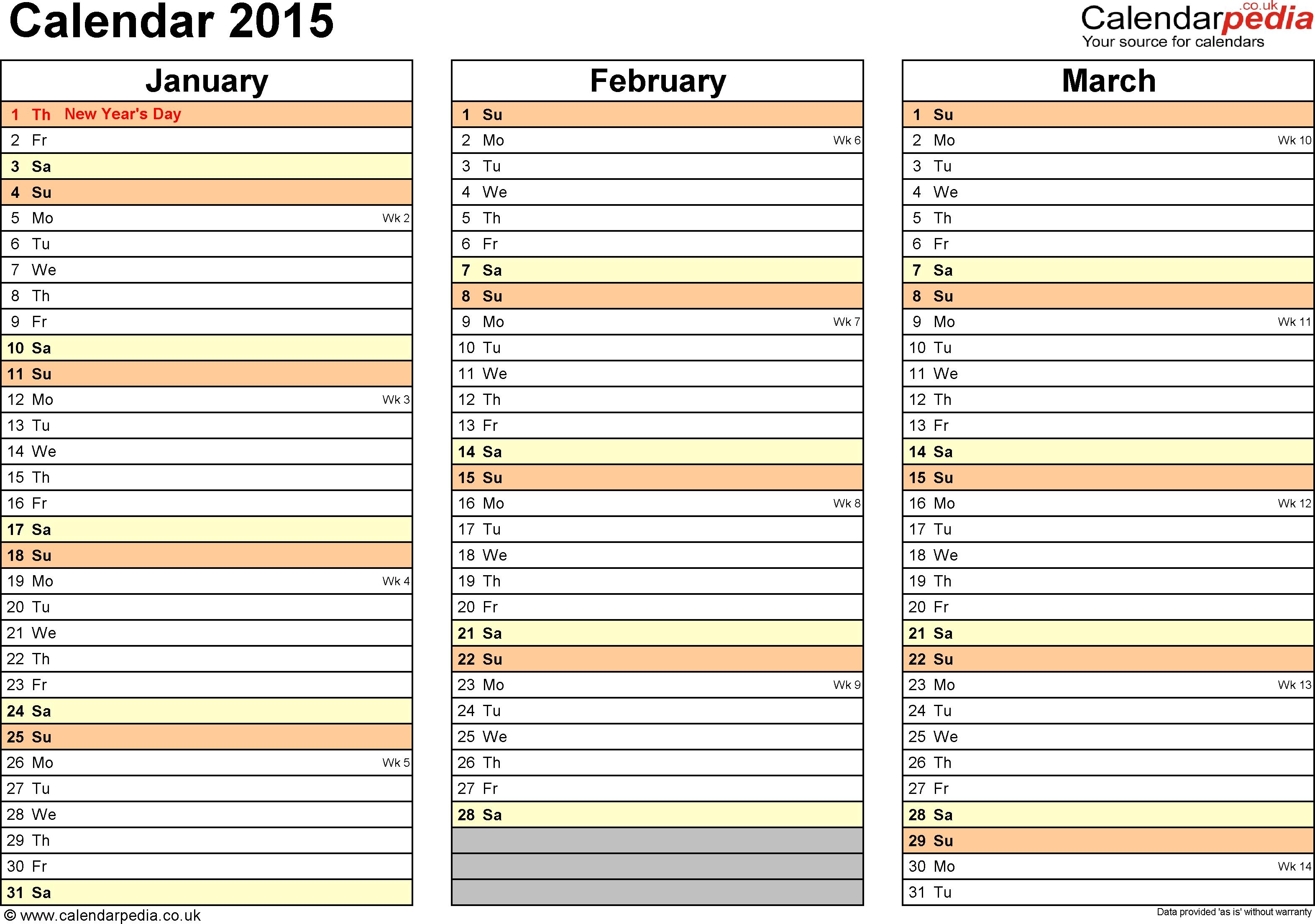 Excel Calendar 2015 (Uk): 16 Printable Templates (Xlsx, Free)  3 Months In One Calenadar