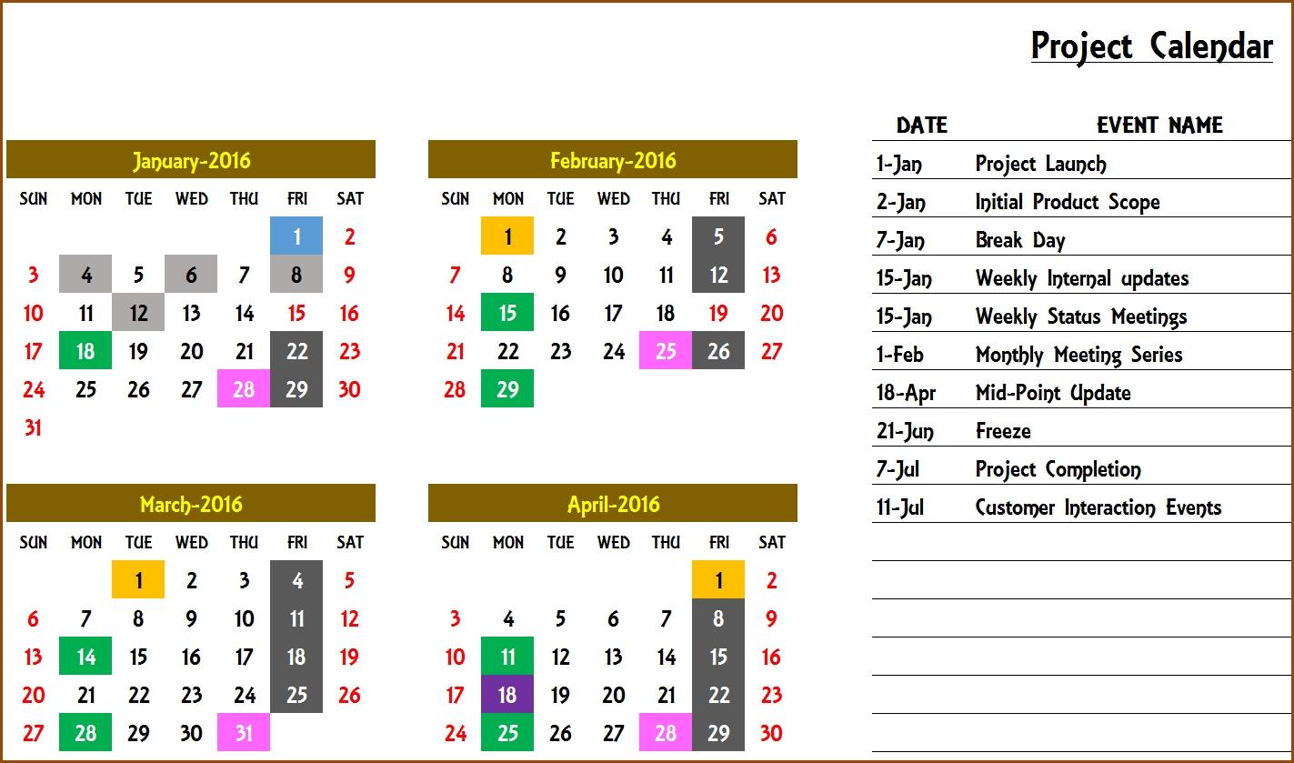 Excel Calendar Template - Excel Calendar 2018, 2019 Or Any Year  Annual Event Calendar Template Excel