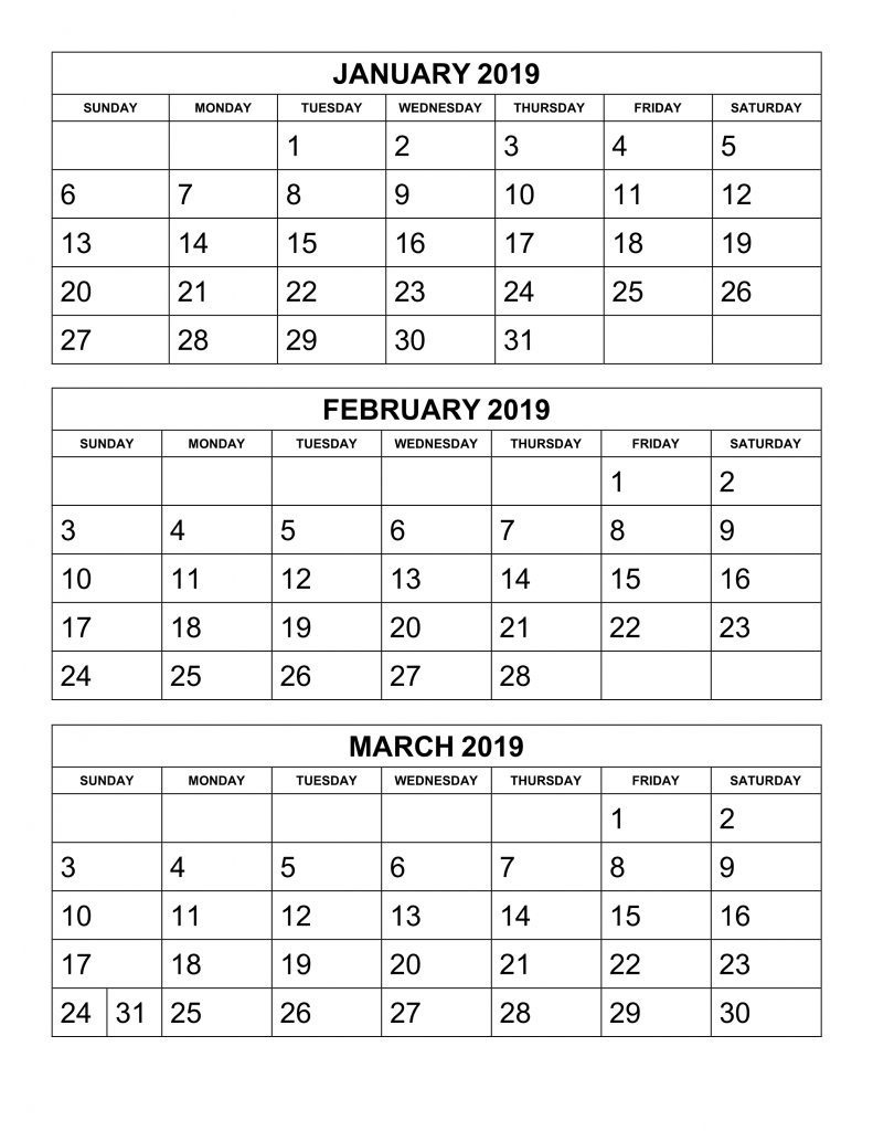 Free 2019 3 Month Printable Calendar Templates | April 2018 Calendar  Printable 3 Month Calendar Templates