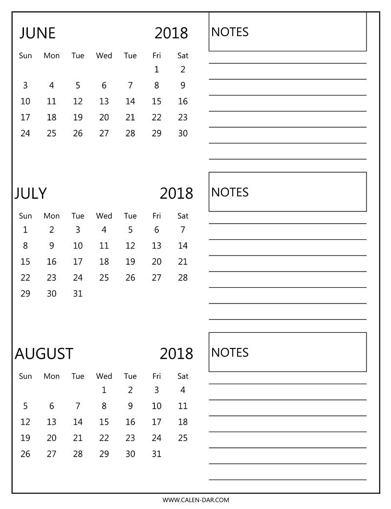 Free 3 Monthly Calendar 2018 June July August Print | 2018 Calendar  Free 3 Month Calendars To Print