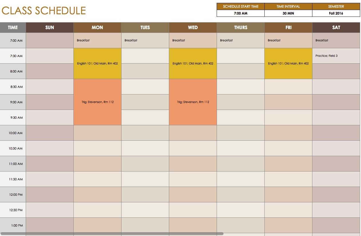 Free Daily Schedule Templates For Excel - Smartsheet  Samples Of Monthly Activity Calendar Templates And Designs