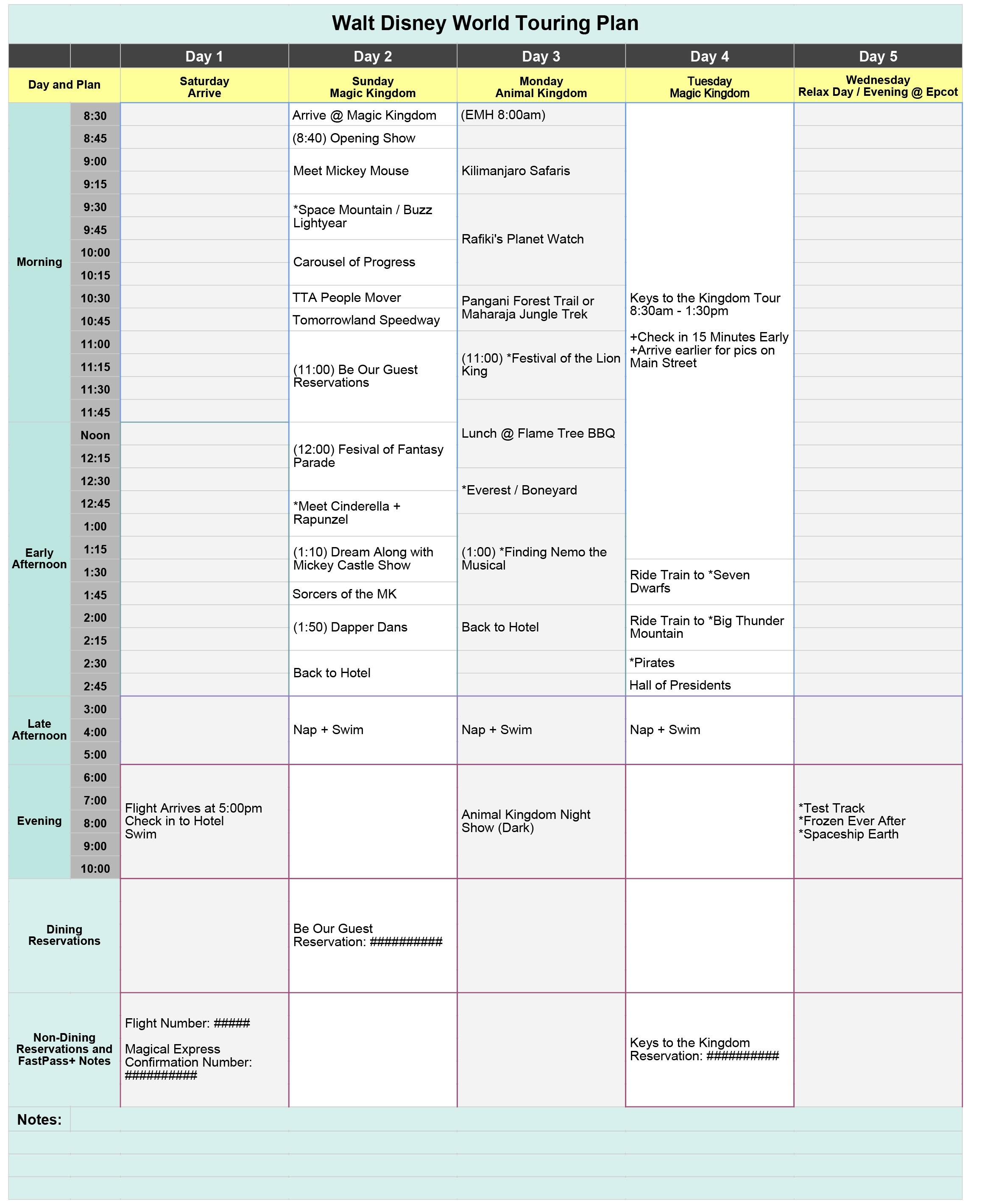 Free Disney World Touring Plan Spreadsheet - Wit & Wander  Disney World Itinerary Template Blank