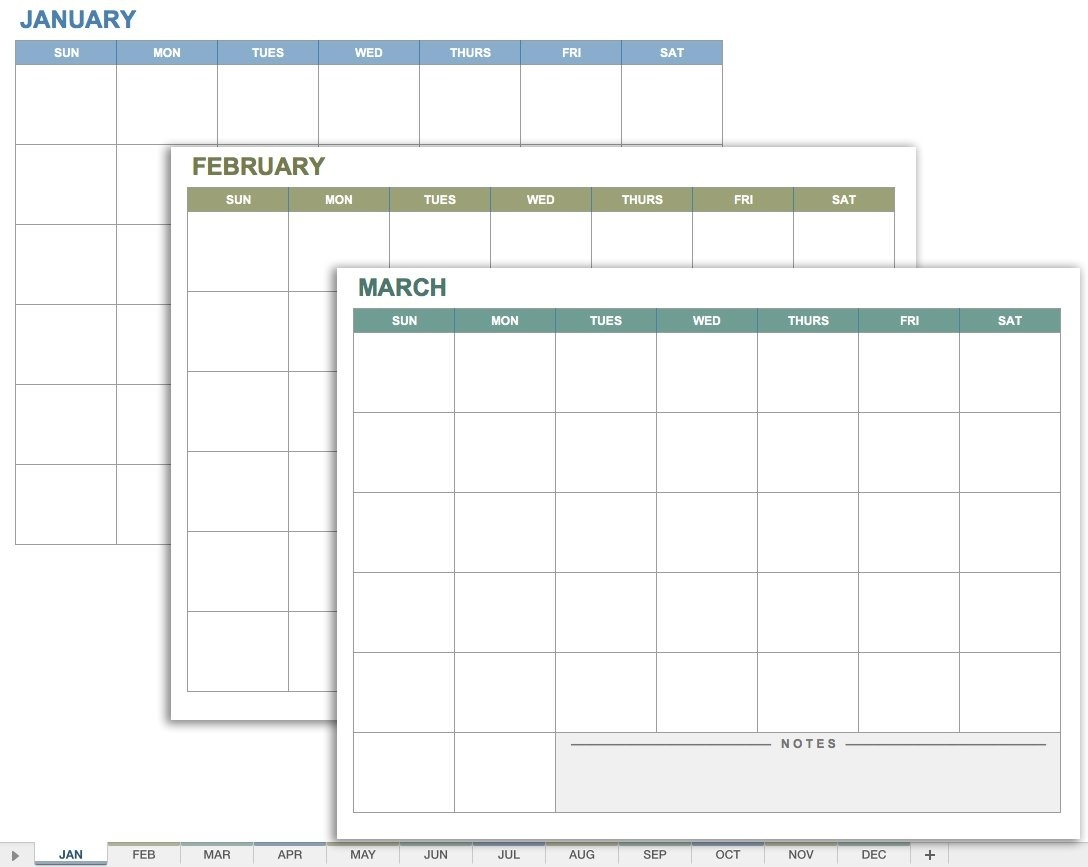 Free Excel Calendar Templates  12 Month Calendar With Room For Notes