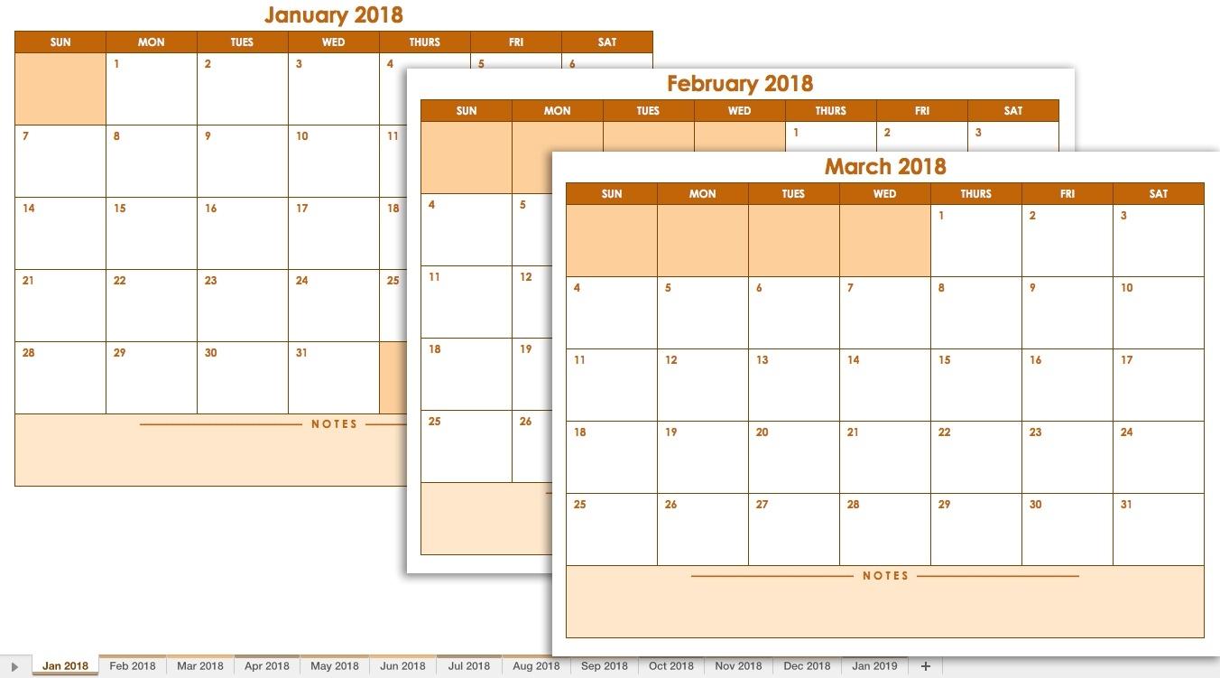 Free Excel Calendar Templates  Printable 3 Month Calendar Templates