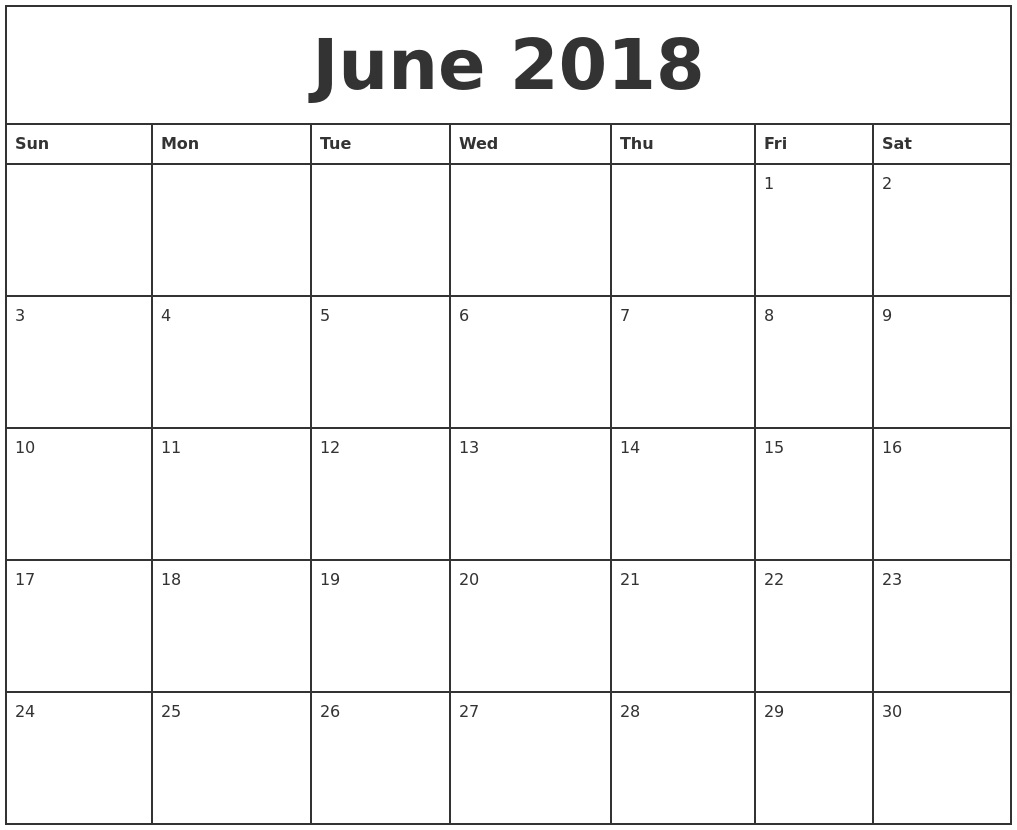 Free June 2018 Calendar Printable Blank Templates - Word Pdf - 2018  Fill In Calendar Template Printable
