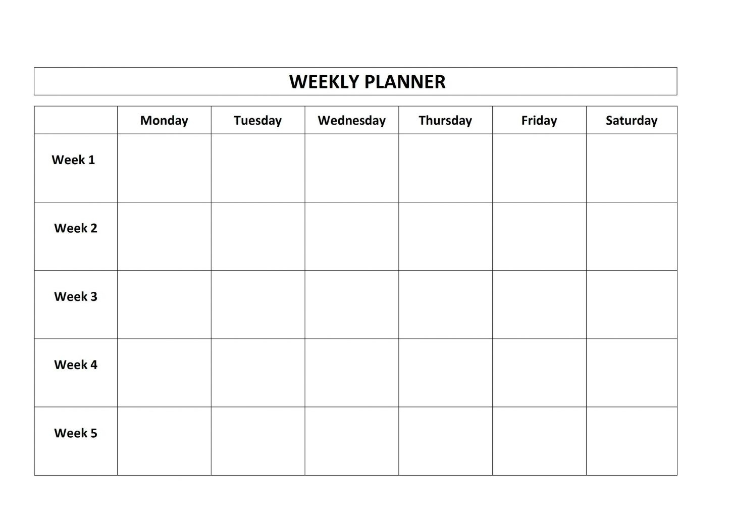 Free Monday Through Friday Calendar Template | Blank Calendar Template  Blank Weekly Monday Through Friday Calendar Template