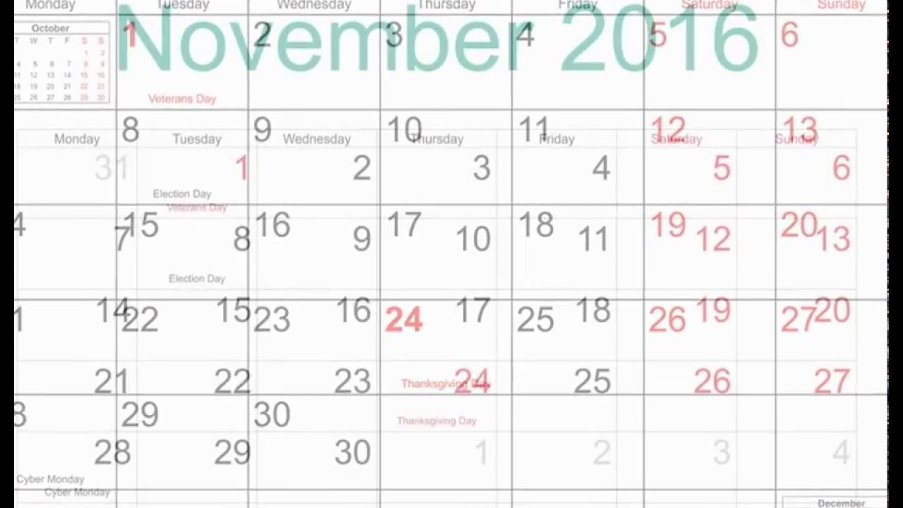 Free November 2016 Printable Calendar With Holidays - Youtube  Free Calendar Templates For The Blind