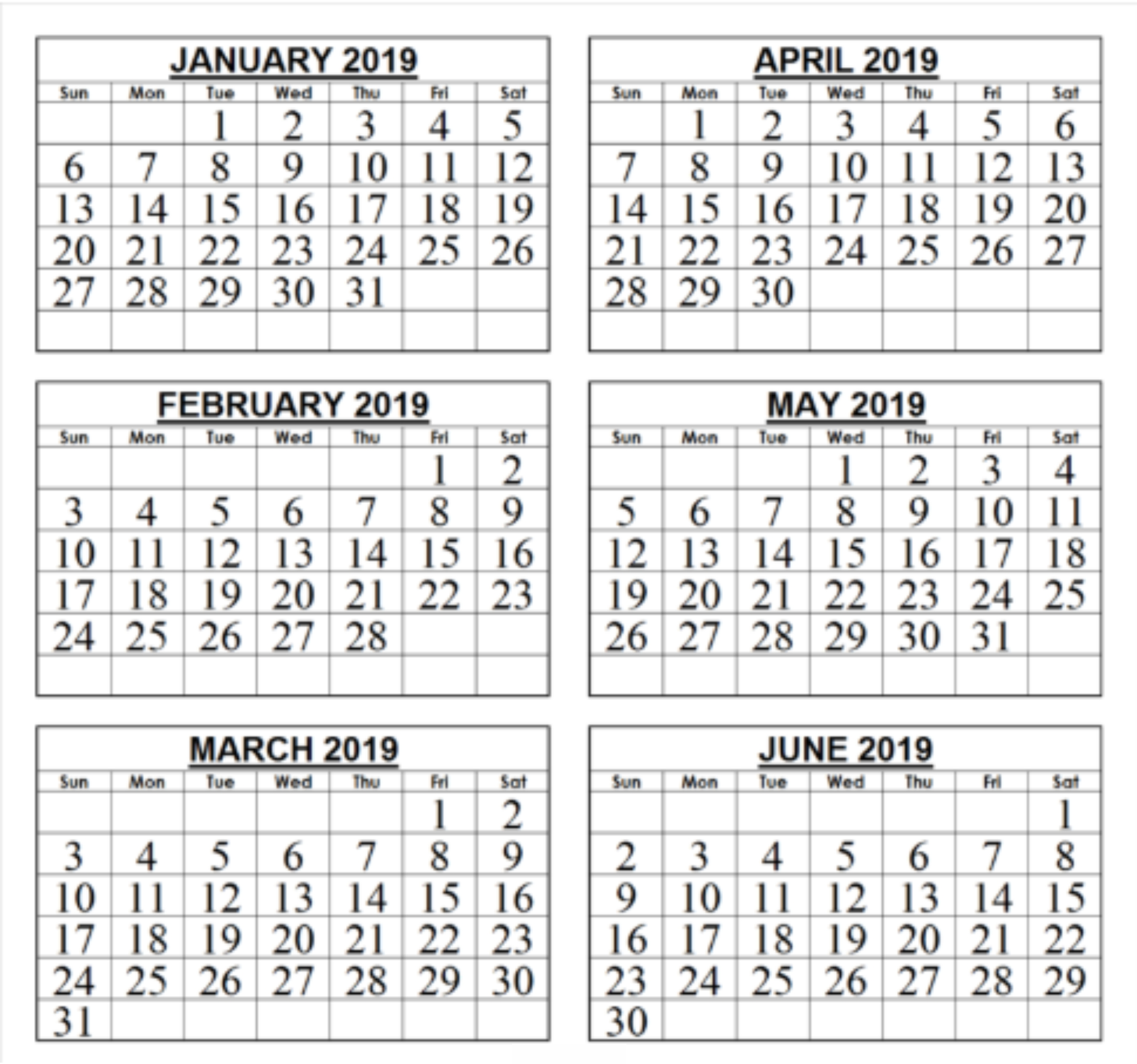 Free Printable 2019 6 Month Calendar Template | November 2018  Free Printable 6 Month Calendar