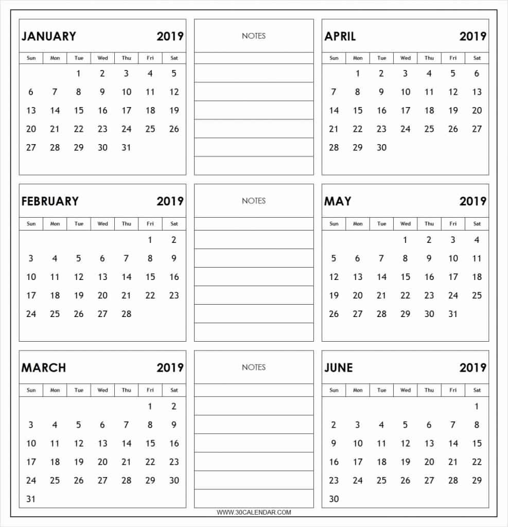 Free Printable 6 Month Calendar 2018 -19 Download | February 2019  Free Printable 6 Month Calendar