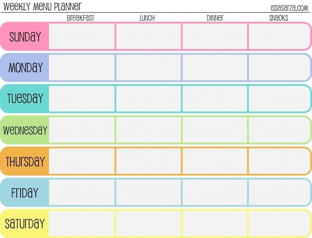 Free Printable Menu Planners – Fill In Day Of The Week Format At The  7-Day Week Blank Calendar Template