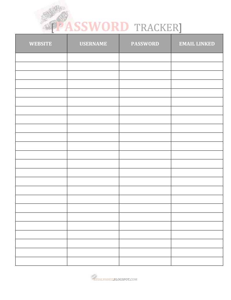 Free Printable Password Tracker Organizer | Printable Password  Free Printable Password Organizer Sheets