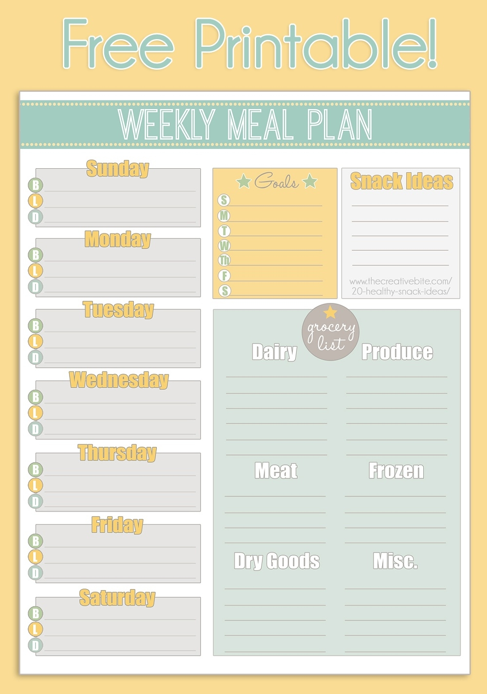 Free Printable Weekly Meal Planner + Calendar  Free Printable Weekly Planner Calendars