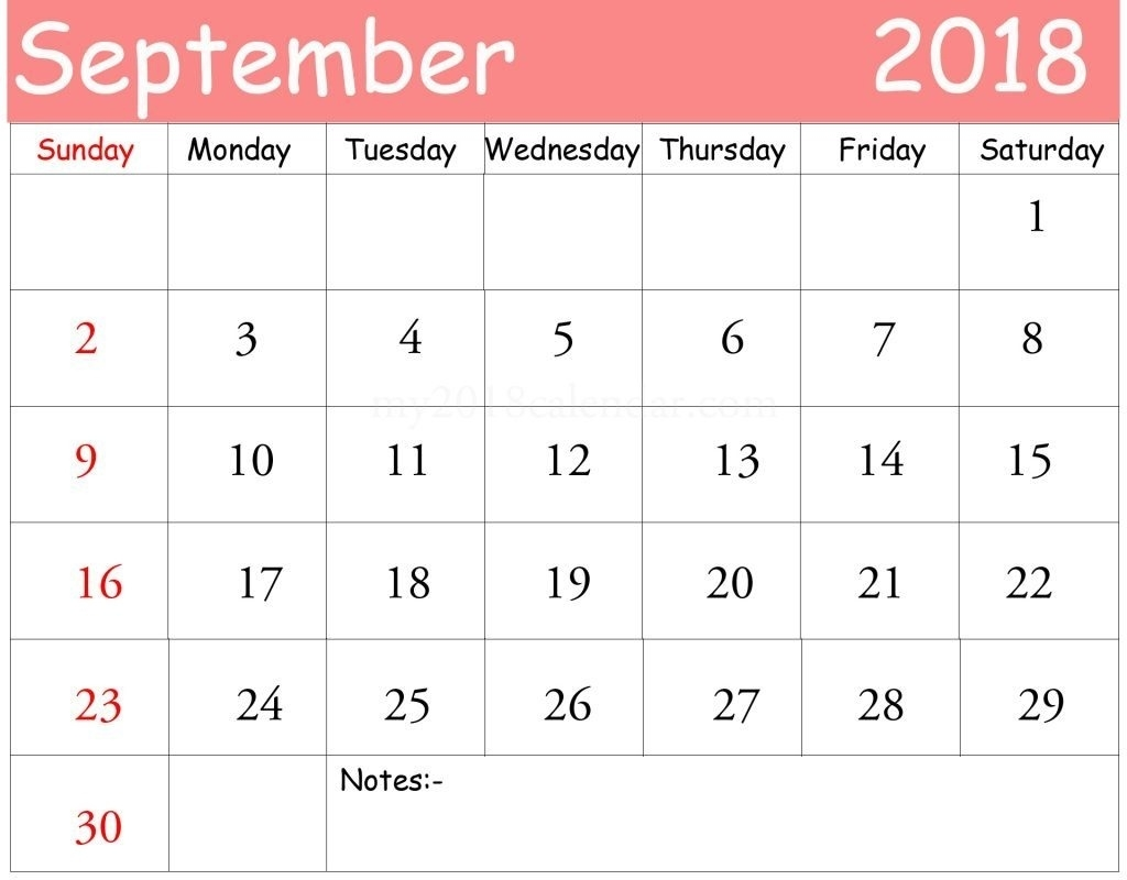 Free] September 2018 Calendar Printable Template | Site Provides  Blank Calendar With Only Weekdays