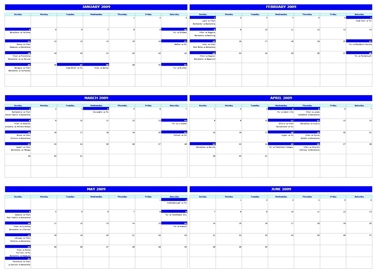 Free Six-Monthly Calendar Template  Free One Month Schedule Templates