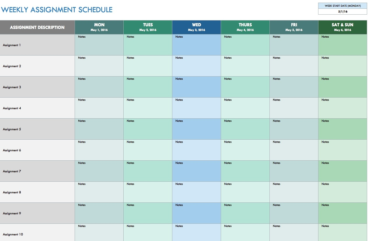 Free Weekly Schedule Templates For Excel - Smartsheet  Free Weekly Bill Payment Template