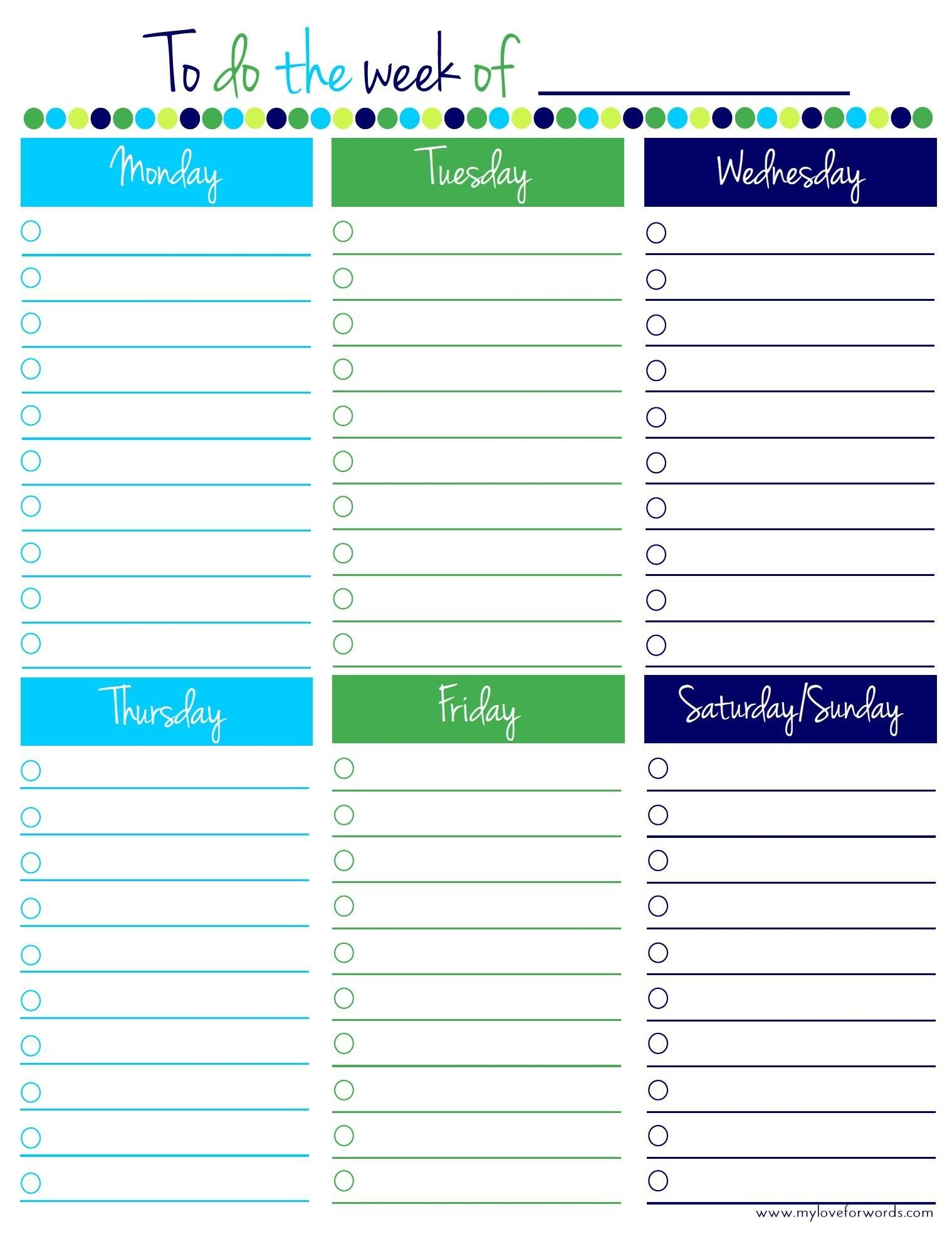 Freebie Friday: Weekly To Do List | Pinterest | Daily Printable  Monday To Friday Weekly Planner