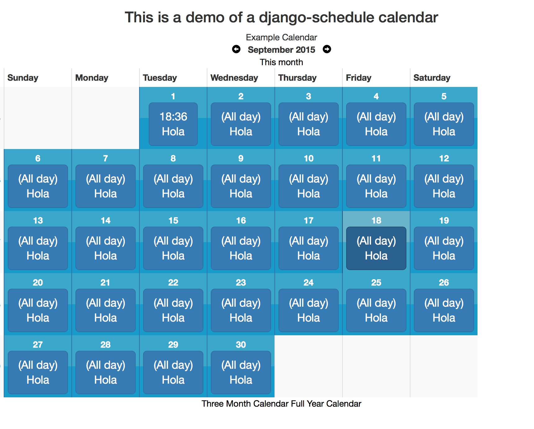 Github - Llazzaro/django-Scheduler: A Calendaring App For Django.  Example Of Calendar Month Python 3
