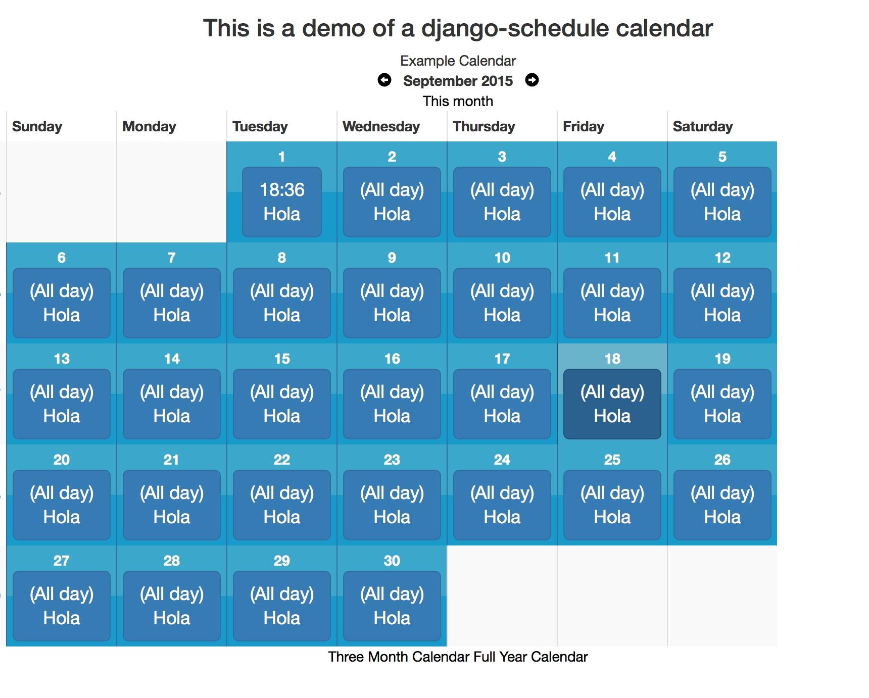 Github - Llazzaro/django-Scheduler: A Calendaring App For Django.  Example Of Calendar Month Python 3