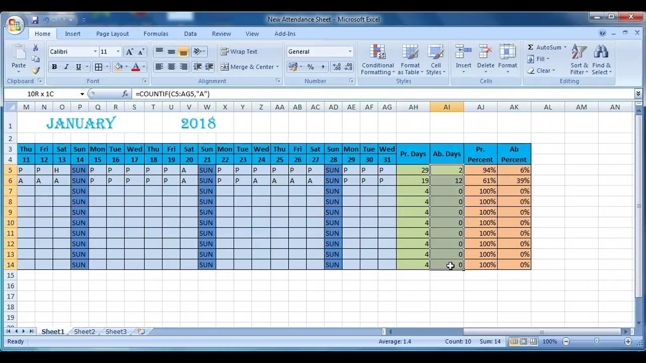 How To Make Attendance Sheet In Excel - Youtube  How To Make Full Year Attendance Sheet