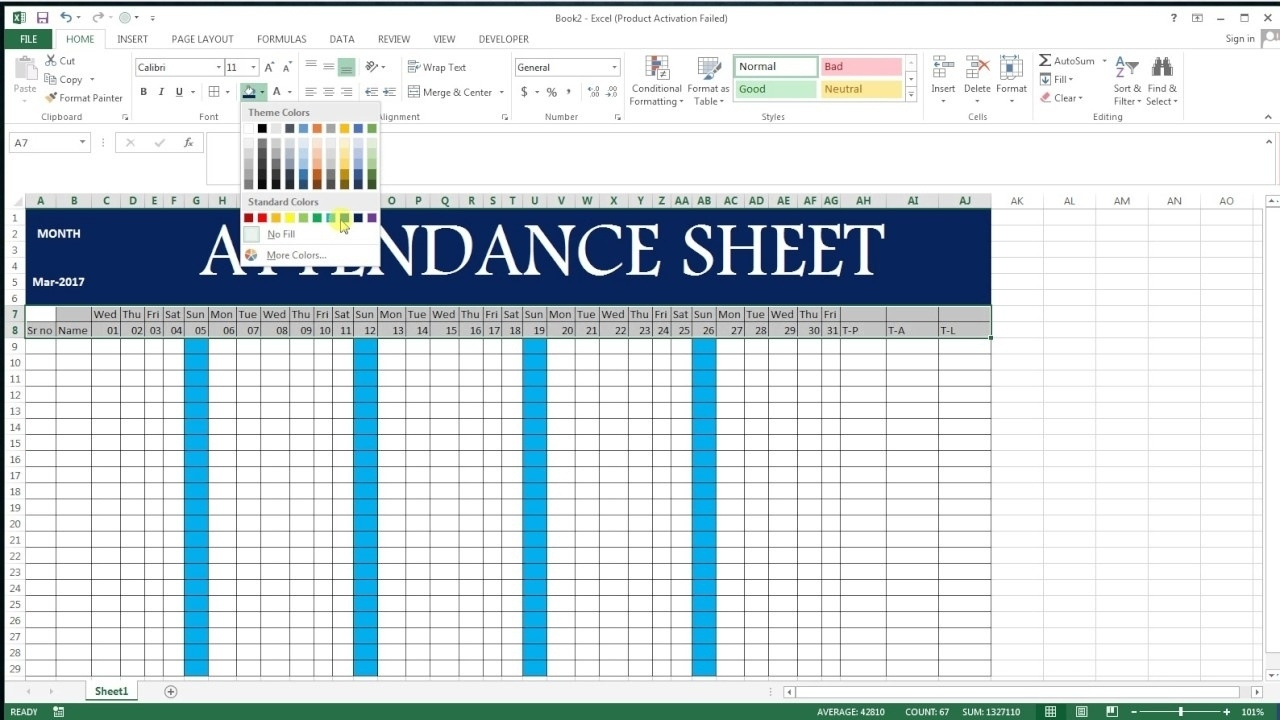 How To Make Full Year Attendance Sheet | Template Calendar Printable  How To Make Full Year Attendance Sheet