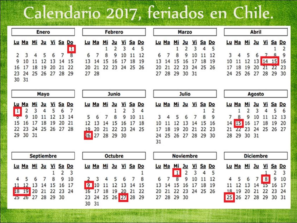 Ideas Para Tiempos Difíciles: Calendario 2017, Feriados En Chile.  Calendarios 17 Feriados En Chile