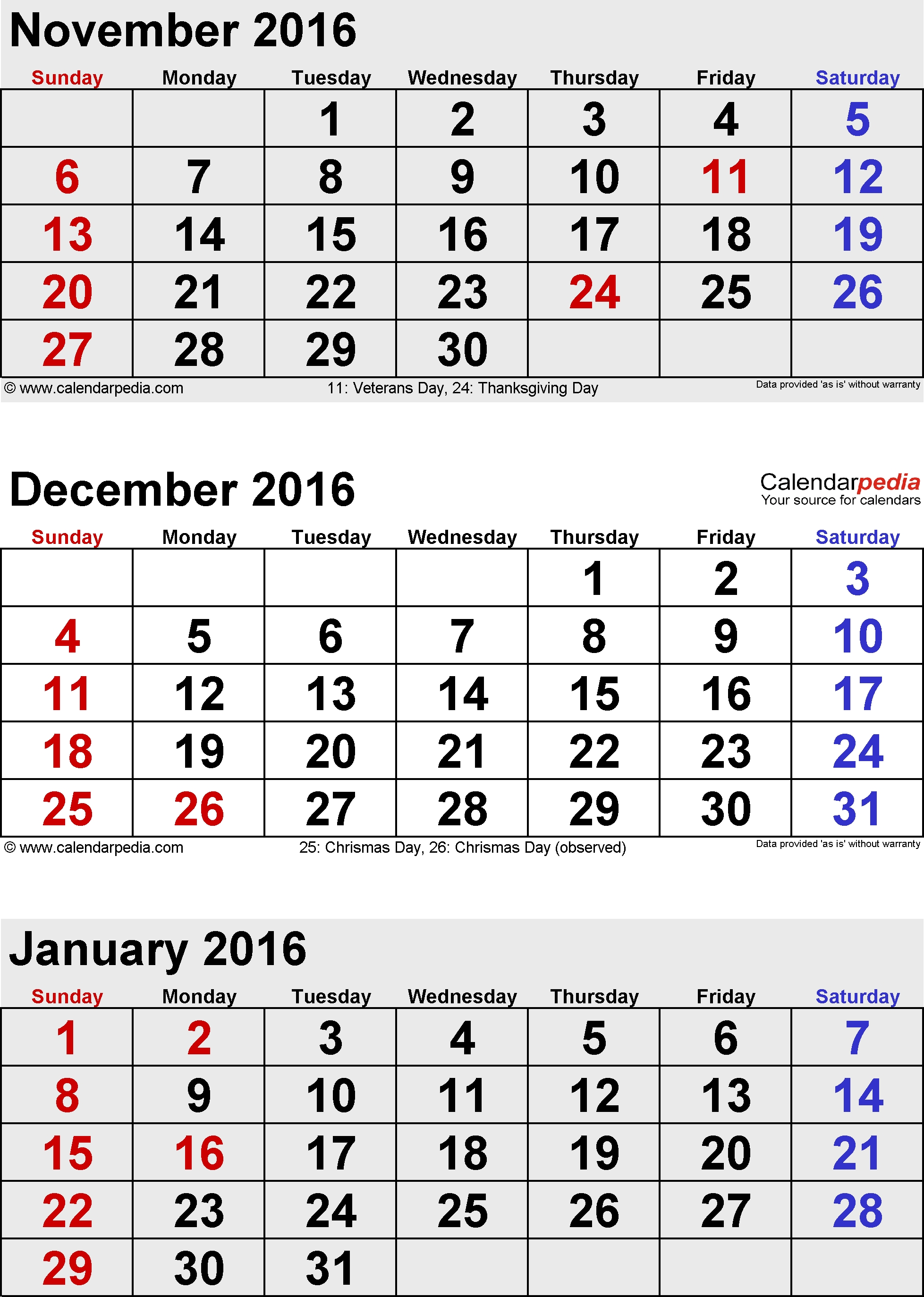 January 2016 Calendars For Word, Excel & Pdf  Calendar Images From Jan To Dec