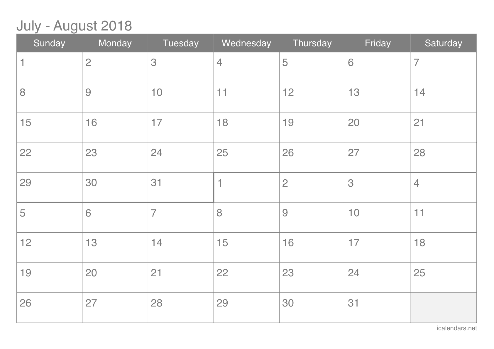 July And August 2018 Printable Calendar - Icalendars  July And August Blank Calendar