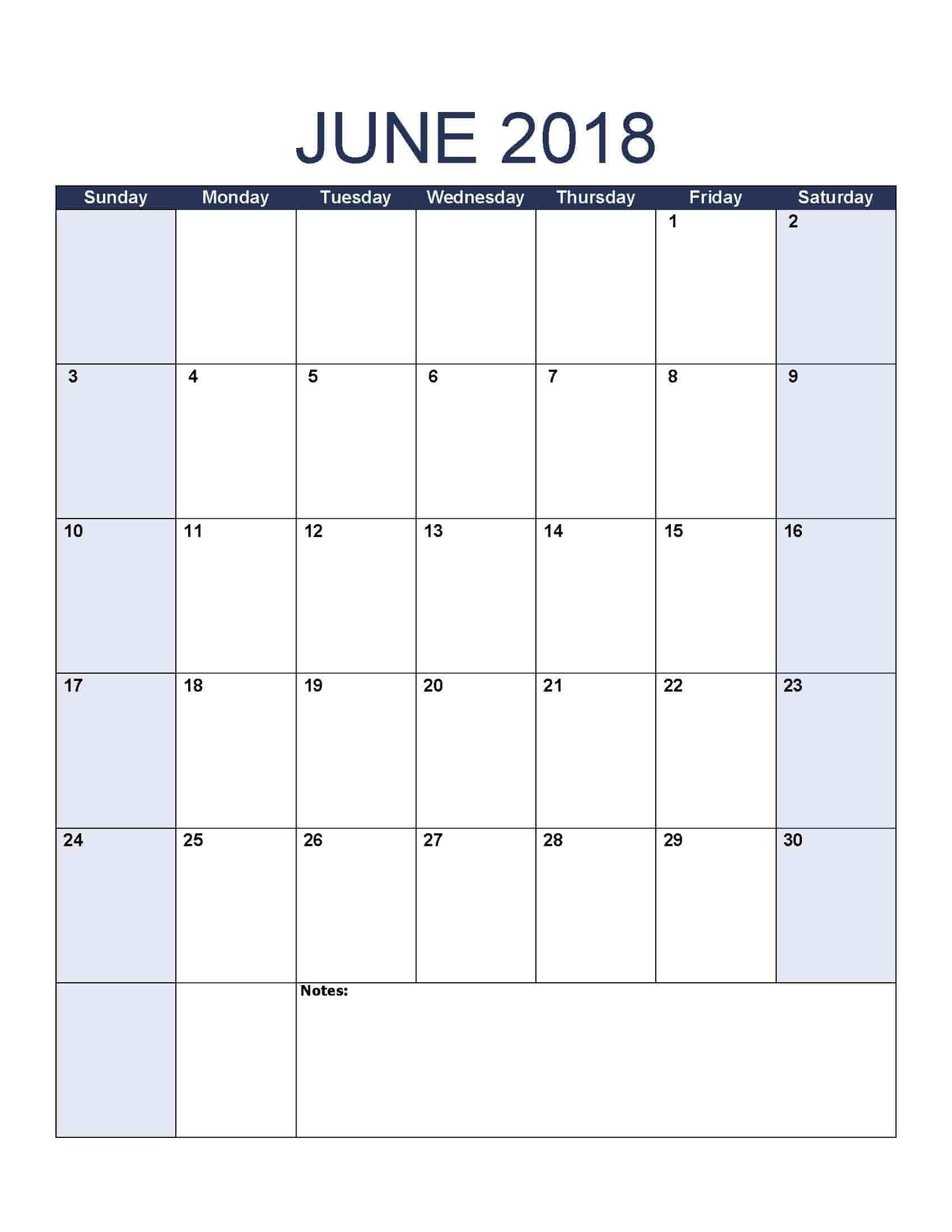 June 2018 Calendar - Free, Printable Calendar Templates  Free Calendar Templates For The Blind