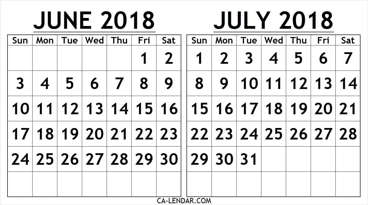 June July 2018 Calendar Free Printable | Two Months Calendar  June And July Monthly Calendar