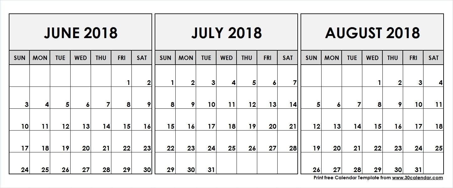 June July August 2018 Printable Calendar | 2018 Calendar | Pinterest  July And August Blank Calendar