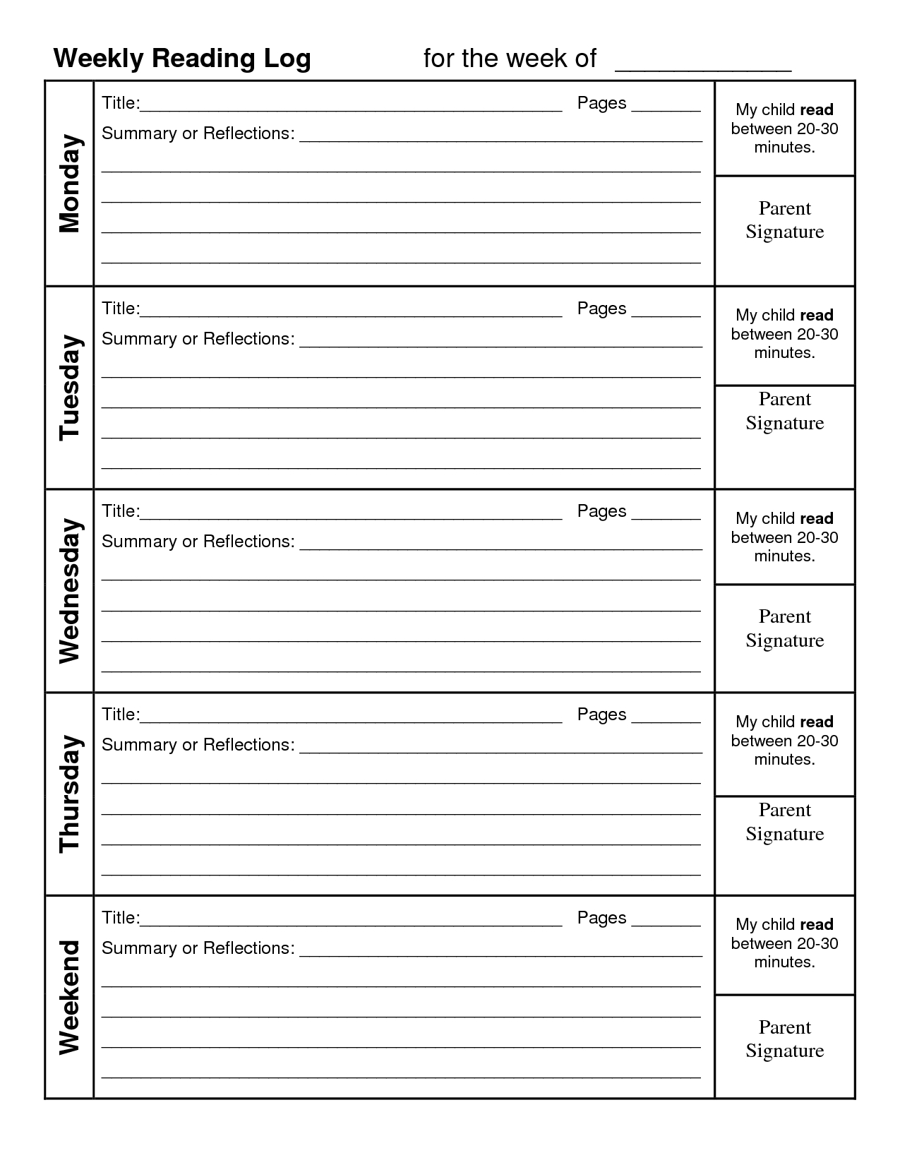 Log Reading Printable Weekly Calendar | Weekly Reading Log  4Th Grade Reading Log Printable