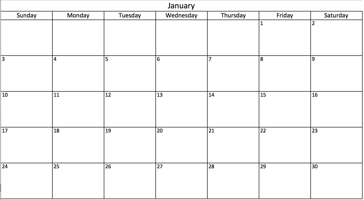 Make A 2018 Calendar In Excel (Includes Free Template)  Schedule Of Activities Calendar Format