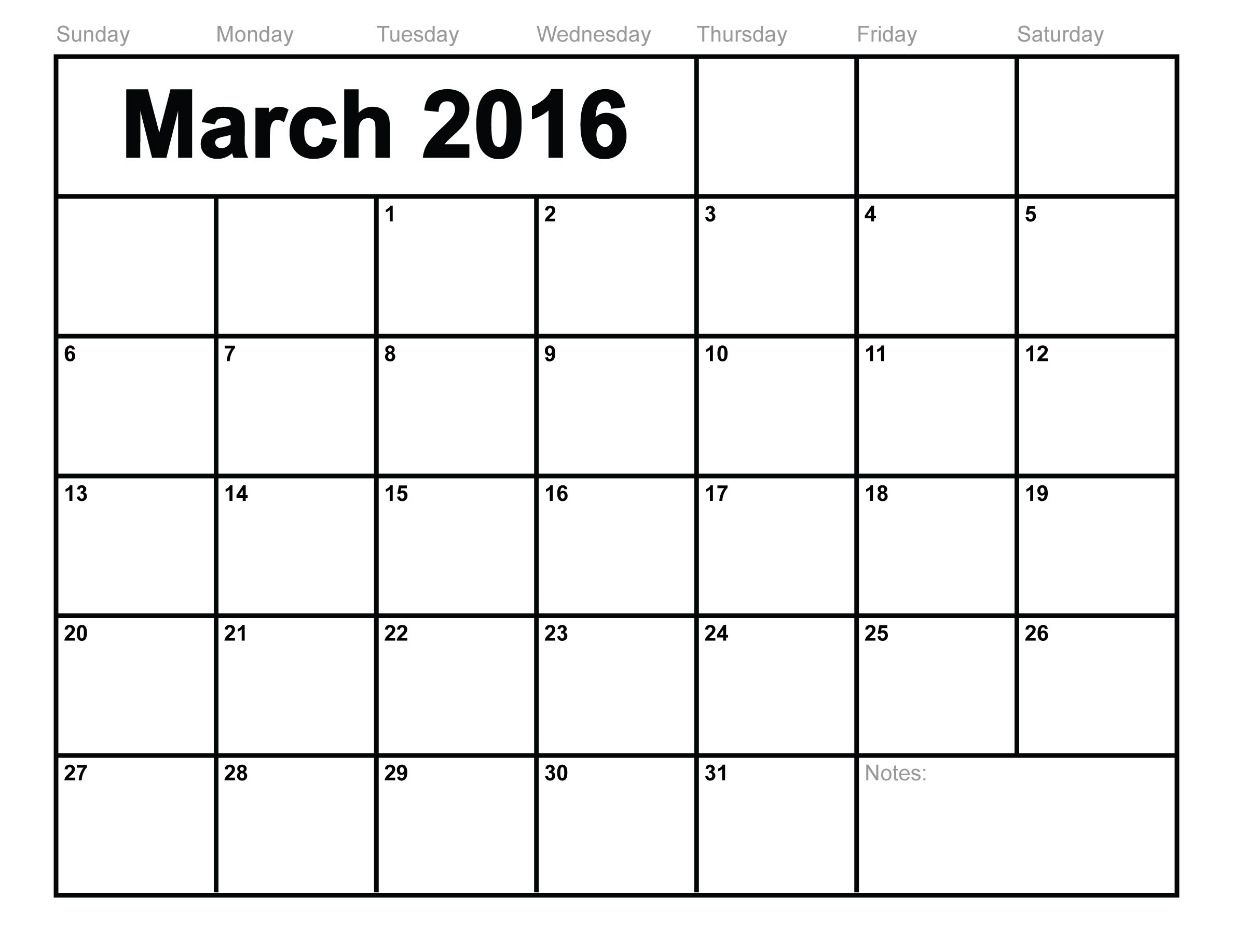 March-2016-Calendar-Printable-Free-Blank-Calendar-2016 | Concord  Blank Calendar To Fill In Free