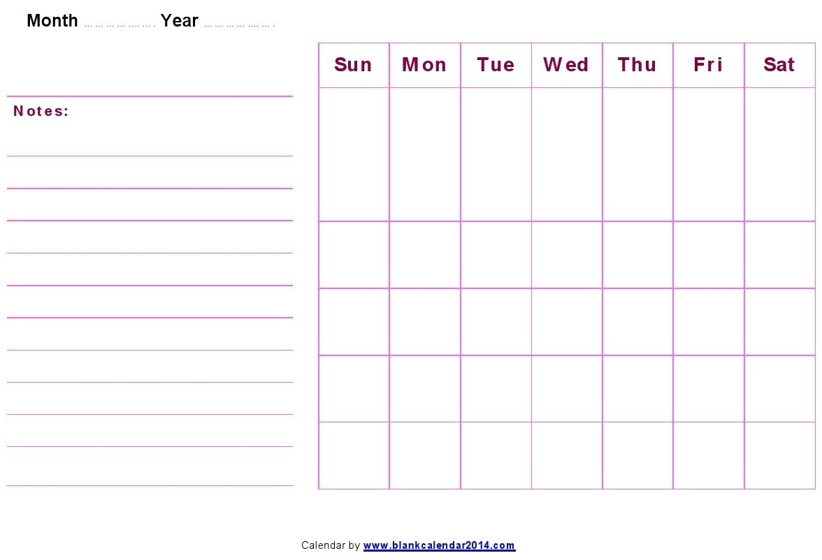 Monthly-Blank-Calendar-Notes  Blank Printable Calendar By Month With Notes