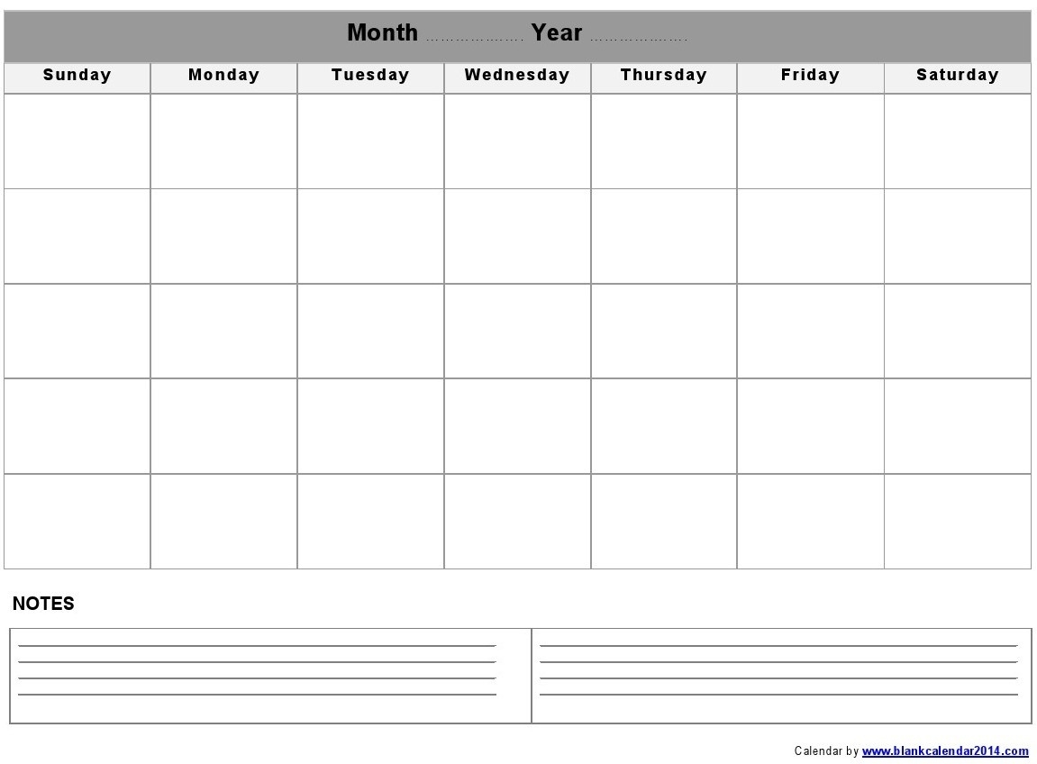 Monthly-Blank-Calendar-Notes-Landscape  Blank Calendar Template With Notes