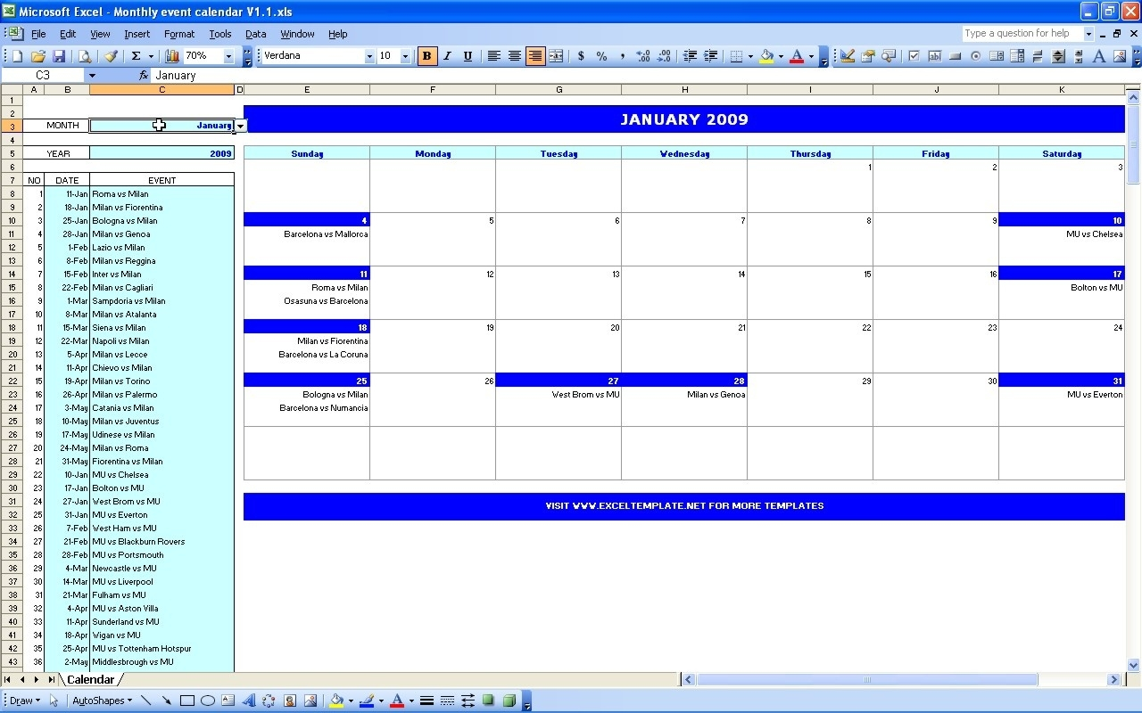 Monthly Event Calendar | Excel Templates  Samples Of Monthly Activity Calendar Templates And Designs