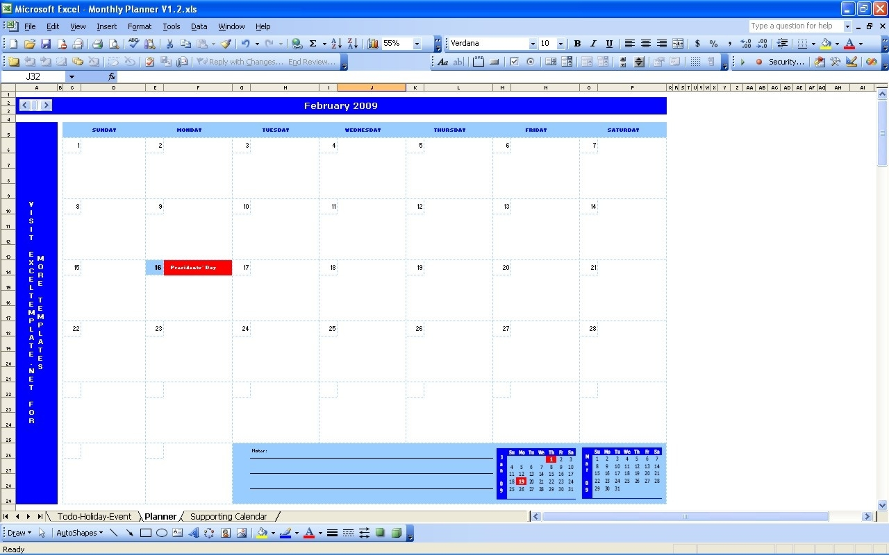 Monthly Planner | Excel Templates  Planning Monthly Calendar Excel Spreadsheet
