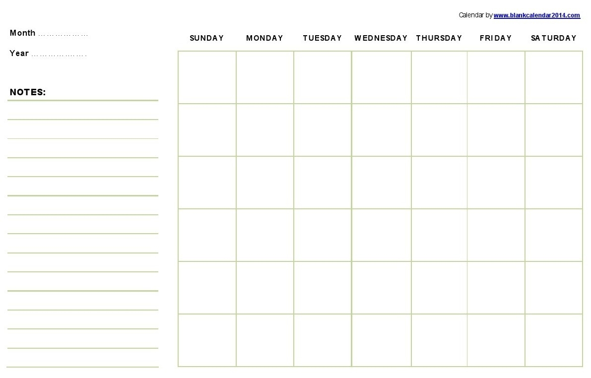 Monthly-Printable-Calendar-Template  Blank Printable Calendar By Month With Notes