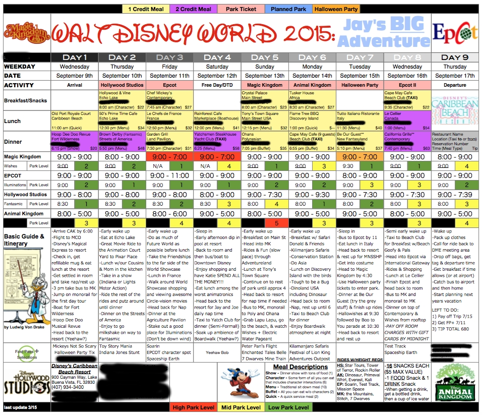 My Obsessed Husband Works On This From The Day We Get Back From A  Disney World Itinerary Template Blank