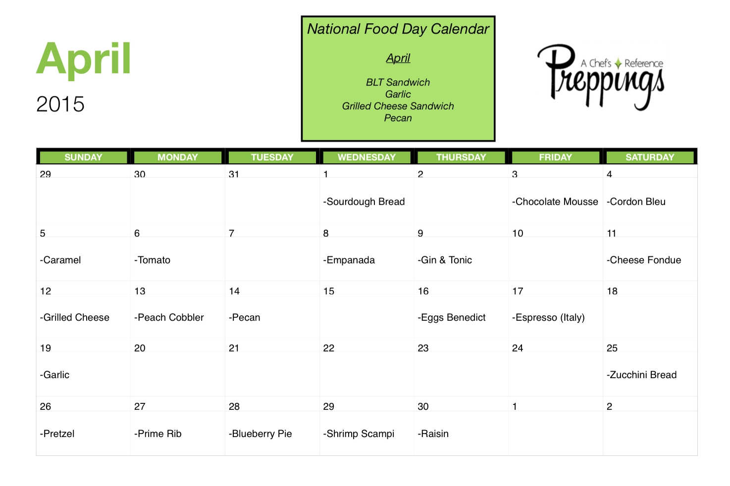 National Food Days- April 2015 - Preppings  National Food Of The Day Calendar