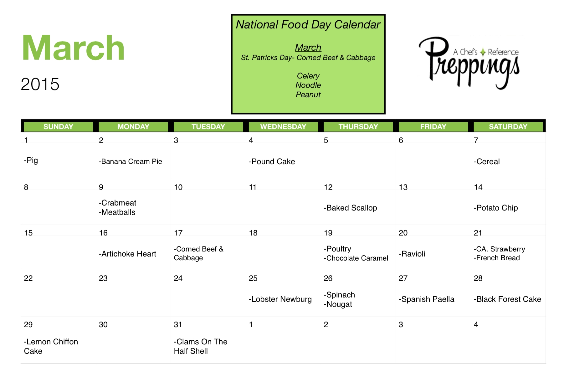 National Food Days- March 2015 - Preppings  National Food Of The Day Calendar