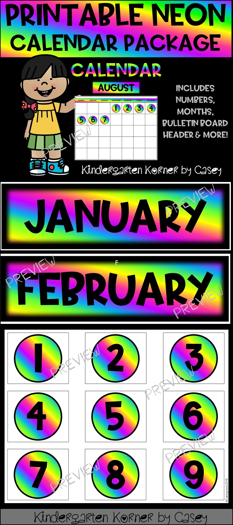Neon Printable Calendar Set- Months Numbers 1 To 31 Bulletin Board  Printable Neon 12 Month Blank Calendar