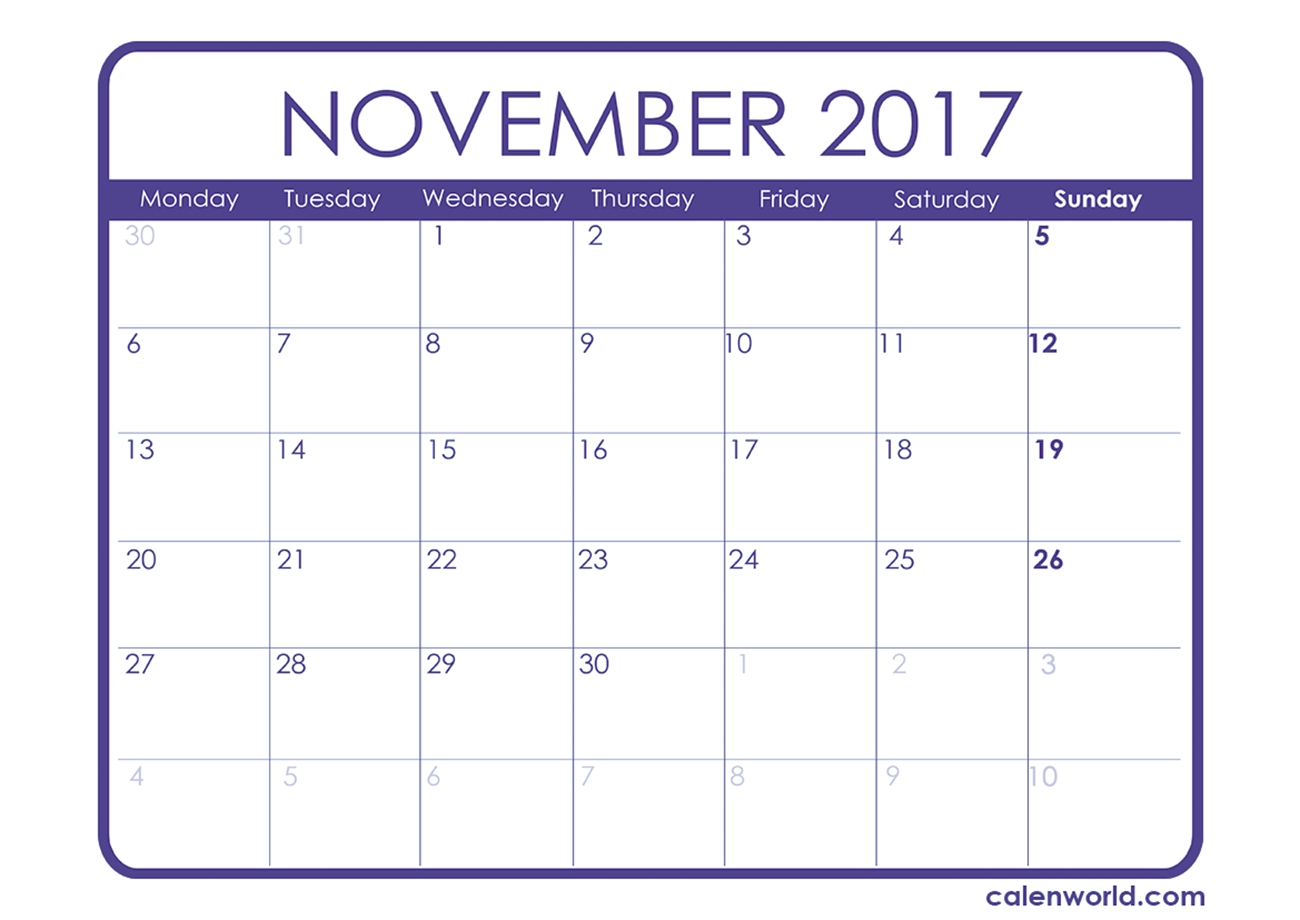 November 2017 Calendar | Printable Calendars  Free Printable Blow Up Calendar