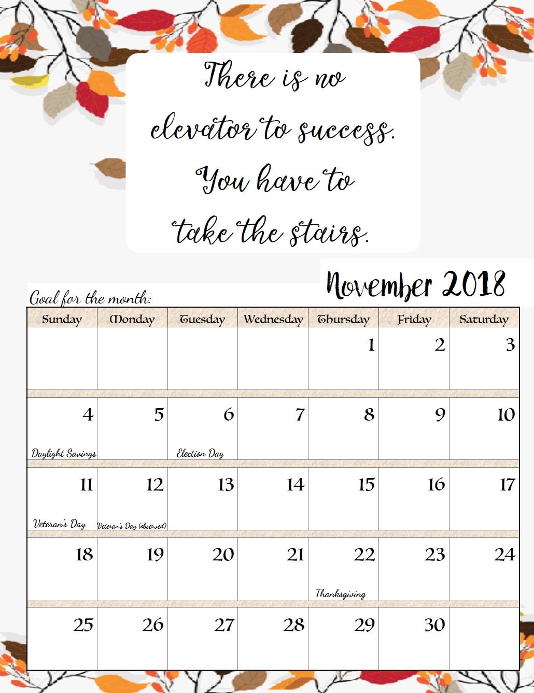 November 2018 Calendar With Quotes | Cal | Pinterest | Calendar  Printable Neon 12 Month Blank Calendar