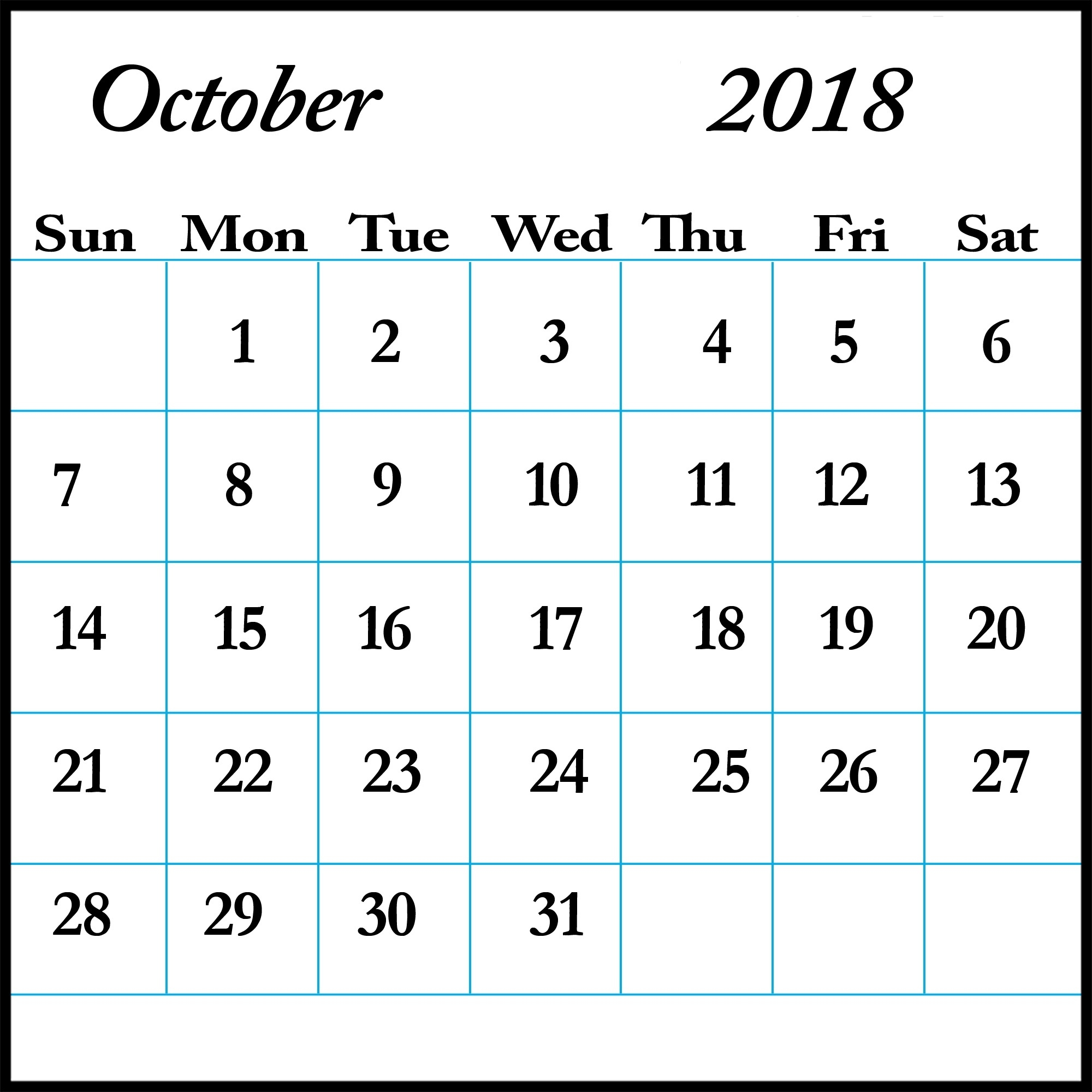 October Calendar 2018 Editable Download | Free Calendar Printable  Printable Blank Monthly Calendar With Lines For Purse