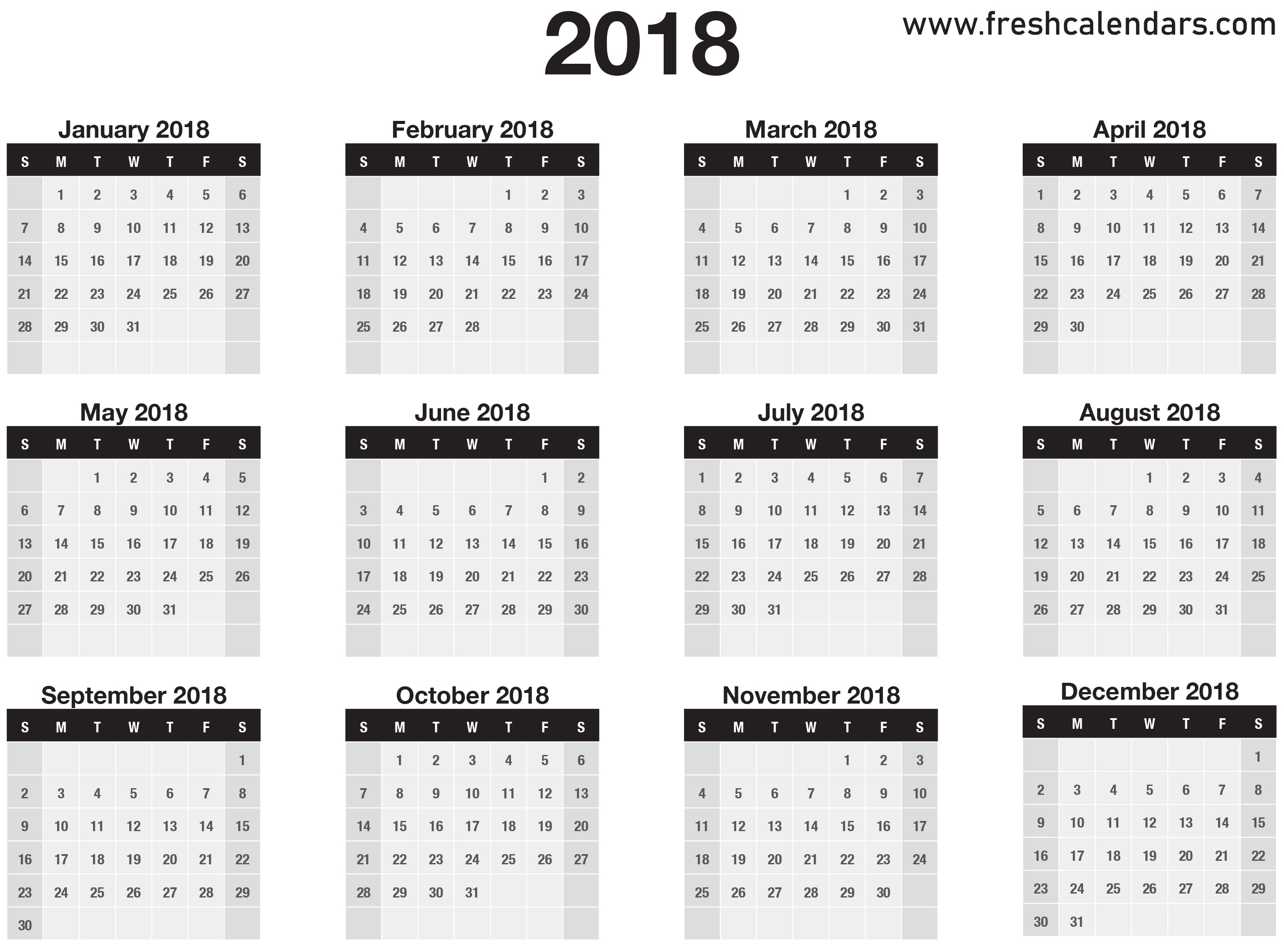 One Page 2018 Calendars  Monthly Calendar On One Page