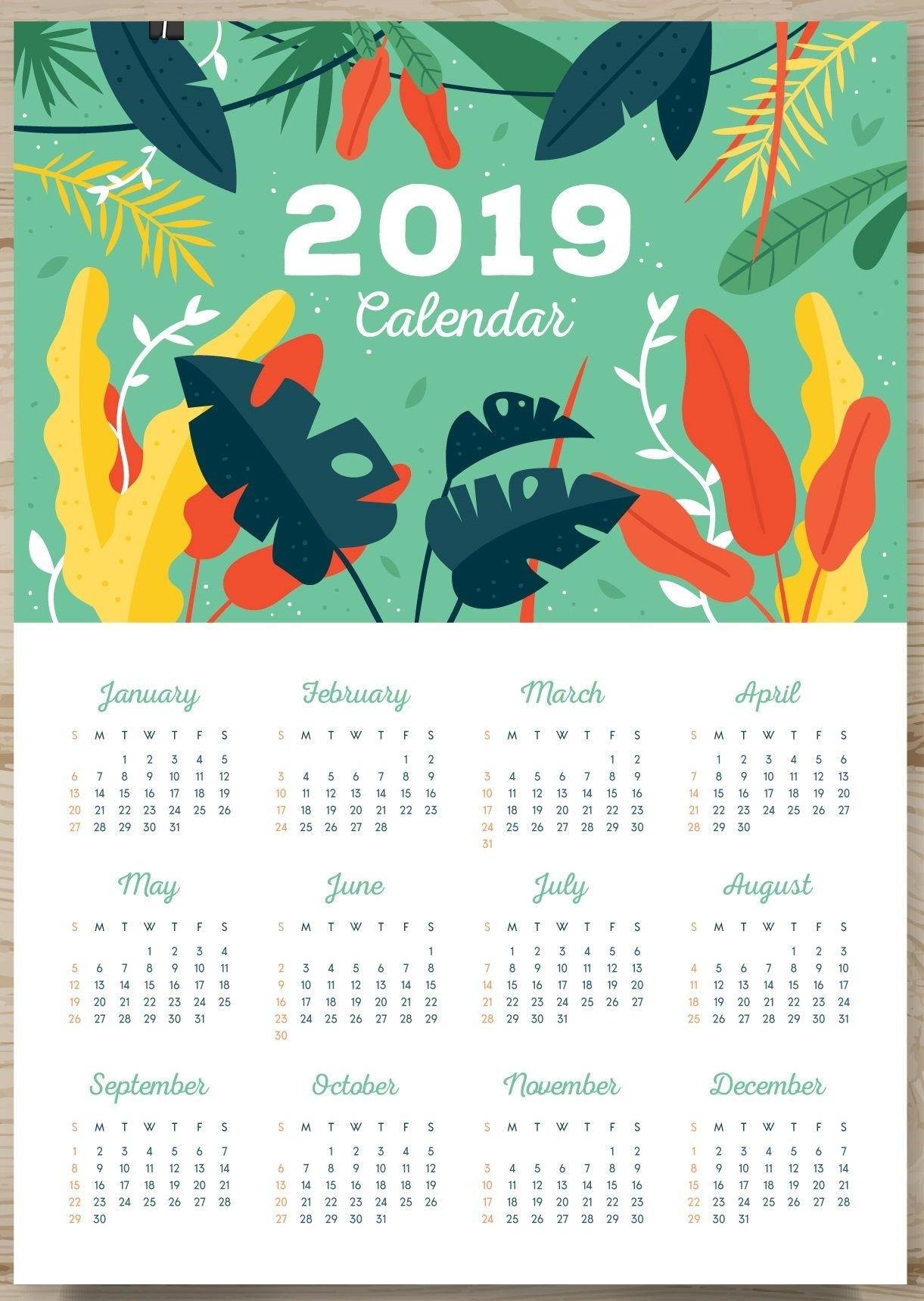 One Page Calendar 2019 | Monthly Calendar Templates | Pinterest  Monthly Calendar On One Page