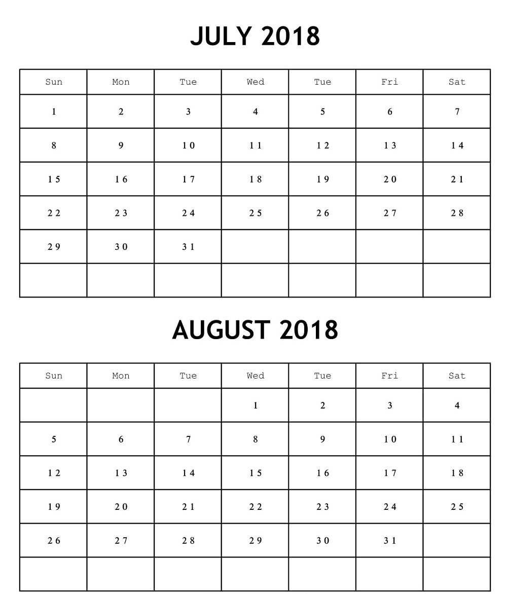 Online July August 2018 Printable Calendar – Printable Calendar 2018  July And August Blank Calendar